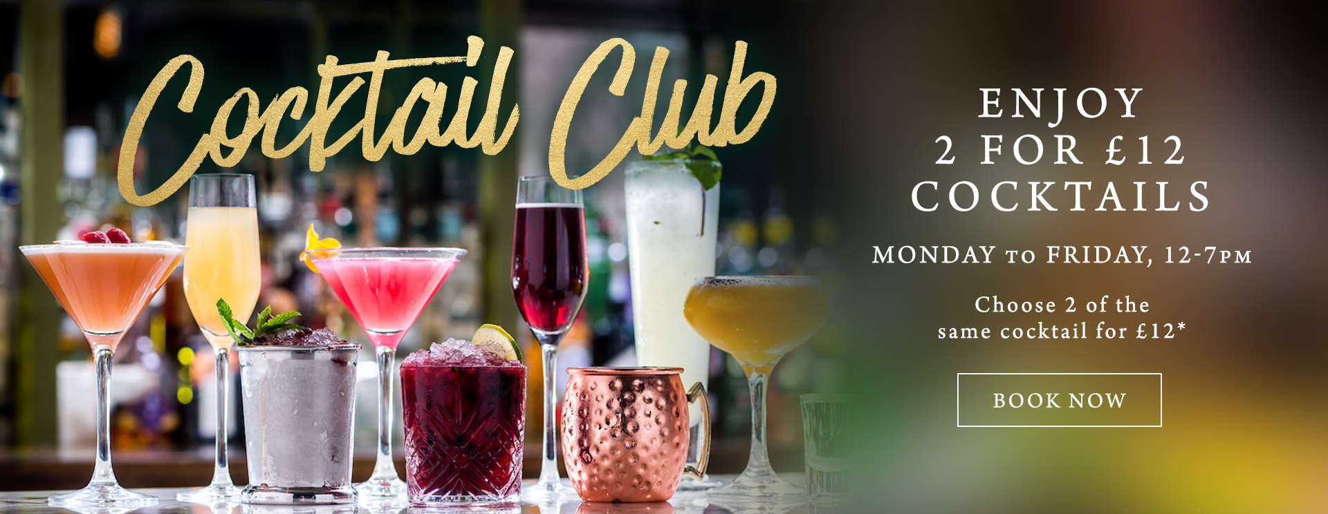 2 for £12 cocktails at The Riverside